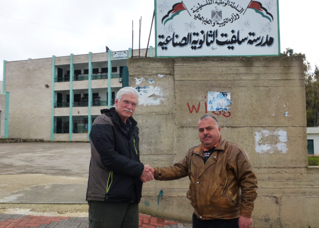 Marsh with the principal of the Salfit Secondary Industrial School.