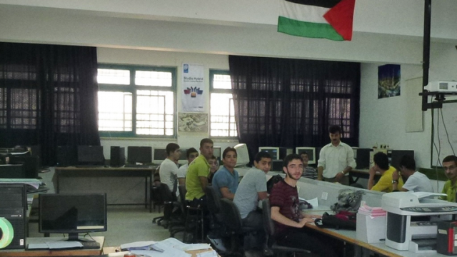 Computer science students at Nablus Industrial Secondary School. Photo: Bob Marsh