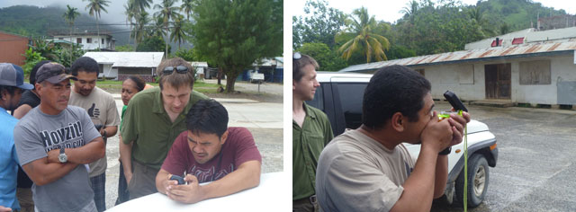 Bjornson training local engineers to perform site surveys. Photos: Prairie Summer / Inveneo