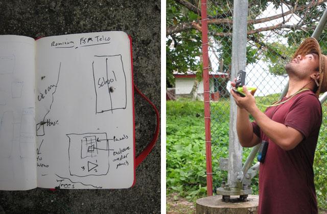 Left: Site sketch in Andris' notebook of Romanum. Photo: Andris Bjornson / Inveneo Right: GR from iSolutions taking measurements at Romanum. Photo: Prairie Summer / Inveneo
