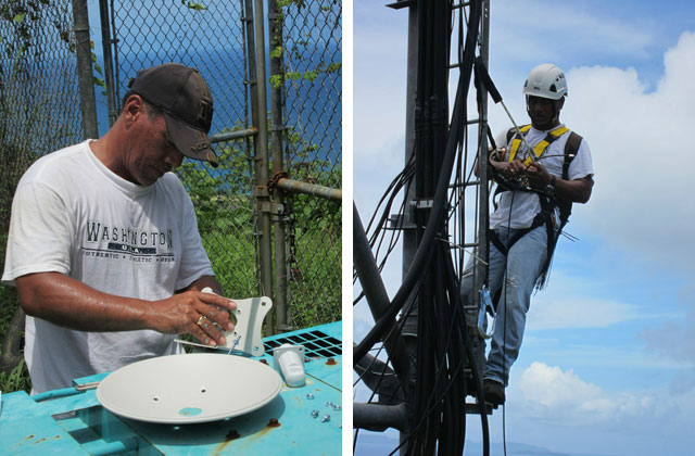 Mangoki Shirai assembles dish for the long-distance link from Weno to Udot, then climbs the FSM Telecom tower on Weno to install the link. Photos: Prairie Summer/Inveneo