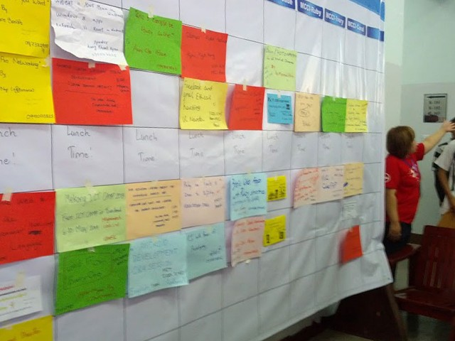 BarCamp Yangon 2013's fluid daily schedule of events. Photo: Mark Summer