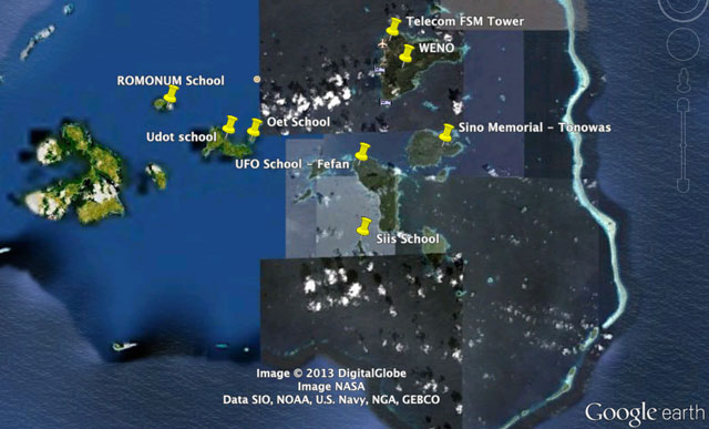 Chuuk Lagoon with pins showing survey locations. The pieced-together nature of Google's area maps highlights the remote nature of the islands.