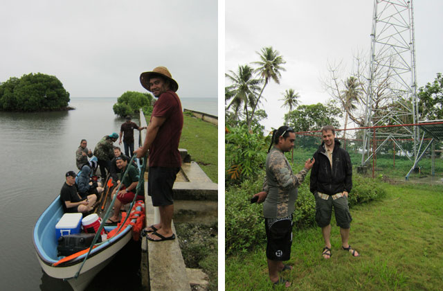 Left: Andris Bjornson and Bruce Balkie from Inveneo, Dr. Laura Hosman from IIT, and the trainees from iSolutions and FSM Telecom boarding the boat on Udot. Photo: Prairie Summer/Inveneo Right: Andris and TR from local partner iSolutions conducting a site survey on Romanum. Photo: Prairie Summer/Inveneo