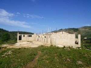 The school under construction. This is what the school looked like on May 30, 2014. Photo credit: Michelet Guerrier - Inveneo