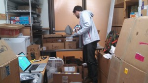 Eric Zan organizing materials for the ERCI project.
